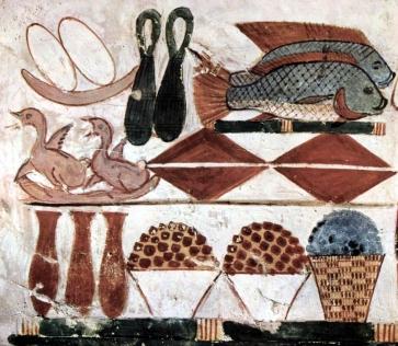 Dettaglio di una tavola imbandita dalle pitture parietali della tomba di Menna (TT69), Tebe Ovest, 1400-1350 a.C. circa
